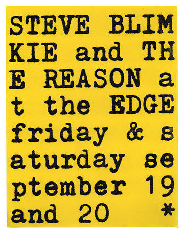 Primary image for Canada powerpop STEVE BLIMKIE & THE REASON 1980 POSTER