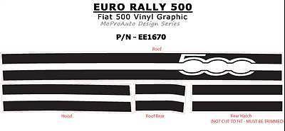 Pro Grade 3M Vinyl 2013 / Fiat 500 EURO RALLY Hood Roof Stripes Decals 1TT
