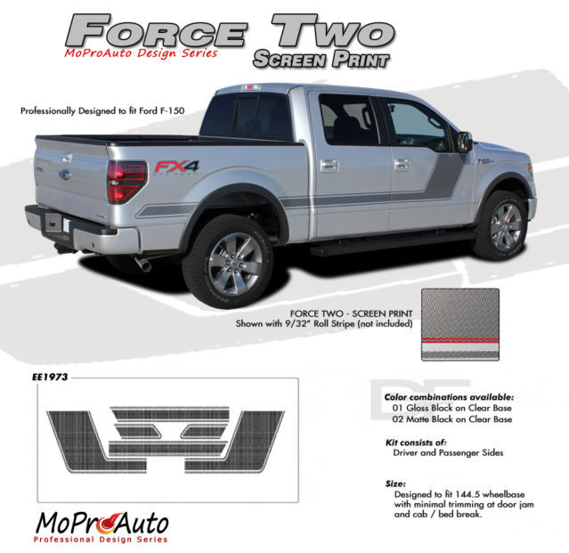 2012 F-150 FORCE TWO Screen Print Side Hockey Decals Stripes Vinyl Graphics 66H