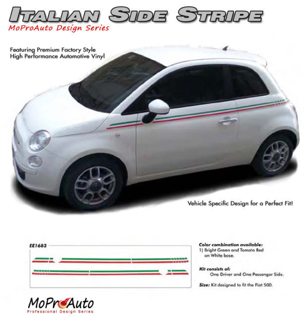 2013 / Side Vinyl Stripes / Fiat 500 SE ITALIAN RED GREEN 3M Decals Graphics GT4