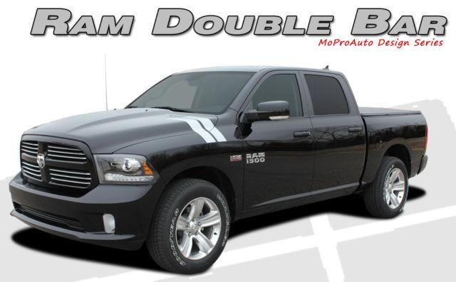 Dodge Ram Hood Hash Marks Vinyl Graphics Decals - 3M Pro Vinyl Stripes 2010 D20