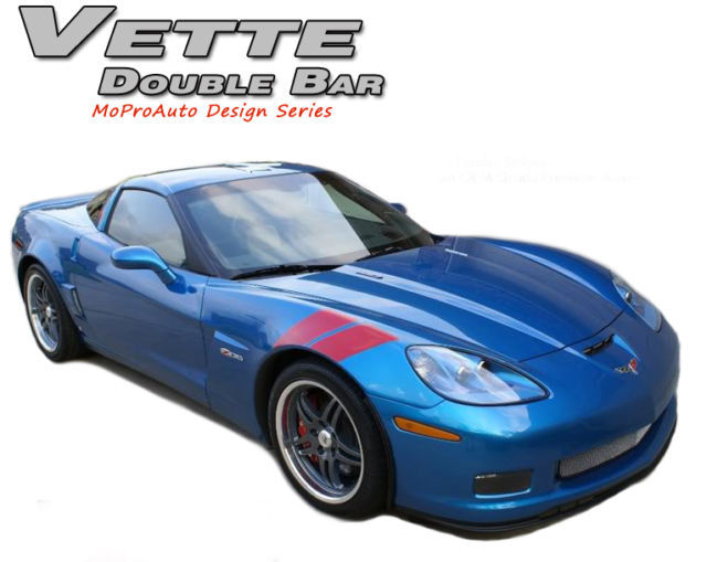 2010-2012 Chevy CORVETTE Hash DOUBLE BAR Decals 3M Stripes Hood Vinyl Graphics