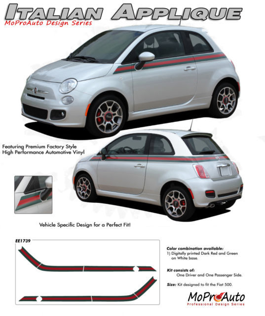 2013 / 3M Fiat 500 SE APPLIQUE ITALIAN Side Vinyl Stripes Decals Graphics GH5