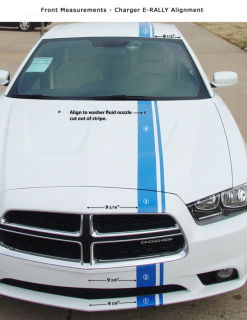 2012 Dodge Charger E-RALLY Racing Hood Stripes Decals - Pro Grade 3M Graphics 67