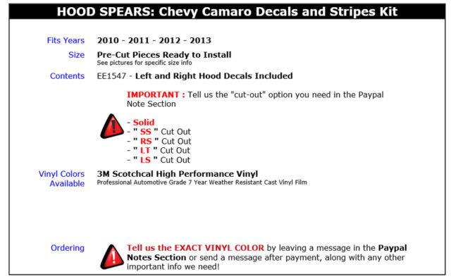 2012 HOOD SPEARS Spikes Camaro Decals Stripes Graphic SS * Premium 3M Vinyl 784