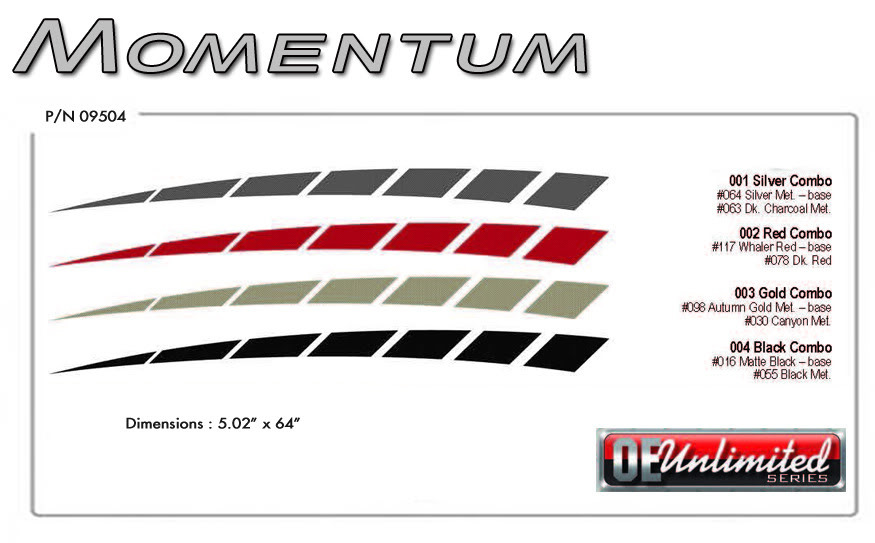 MOMENTUM Vinyl Graphic Decals Stripes Universal Fit Ford Mustang Charger Camaro