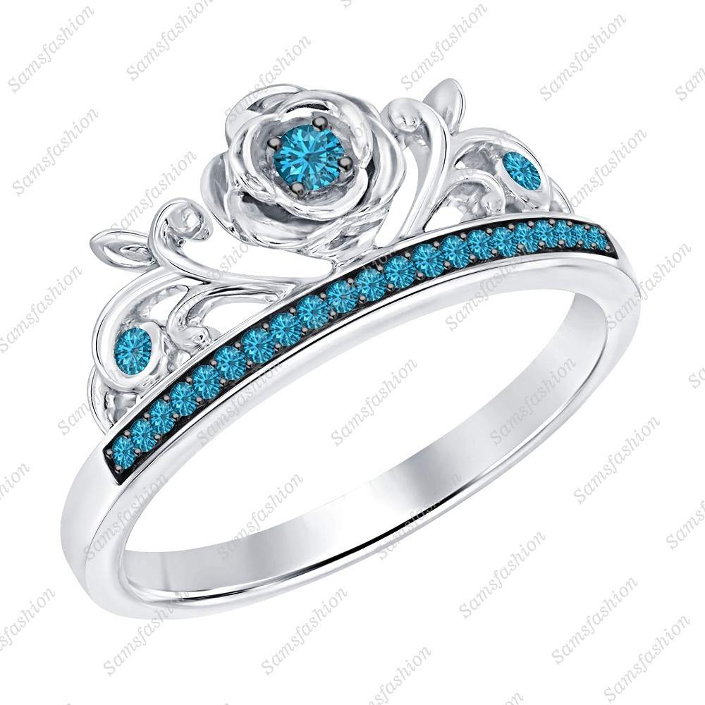 Primary image for Round Swiss Blue Topaz 14k White Gold Over 925 Silver Rose Flower Promise Ring