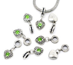 Green Rhinestone August Birthstone Heart Dangle Bead for European Charm ... - $14.99
