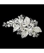 Silver Austrian Crystal Rhinestone Flower Leaf Prom Bridal Wedding Comb - $75.00