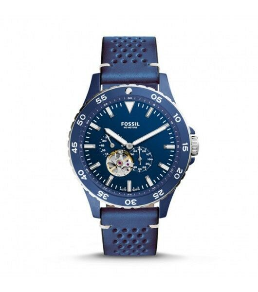Primary image for BRAND NEW FOSSIL ME3149 CREWMASTER SPORTS BLUE LEATHER/BLUE DIAL MEN'S WATCH
