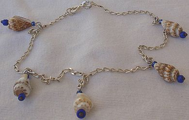 Anklet silver with shells 1