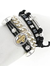 Faux Leather Rhinestone Believe Faith Cross Seed Bead Silver Chain Wrap ... - $16.15