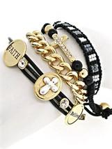Faux Leather Rhinestone Believe Faith Cross Seed Bead Gold Chain Wrap Br... - $16.15
