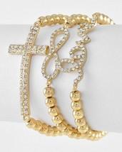 Gold Tone Bead Rhinestone Cross Word Love Infinity Sign Stretch Bracelet Set - $12.74
