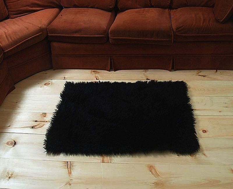 "6' 8"" x 4' 6"" Black Faux Fur Area Rug - Fake Fur Area Rug with non skid backing"