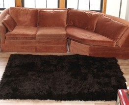 "3' 5"" x 4' 6"" Dark Brown Faux Fur Area Rug, Fake Fur Area Rug w/non skid... - $59.99"