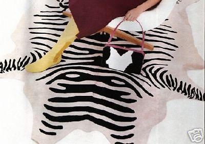 Zebra Print Cowhide rug, Black & Off-White