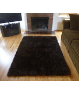 Faux Fur Brown Area Rug from France, 3 x 5 Brown Fake Fur Rug, non-skid ... - $33.66