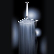 Chrome Finish Brass 12-inch White Color LED Square Ceiling Shower Head - $216.81