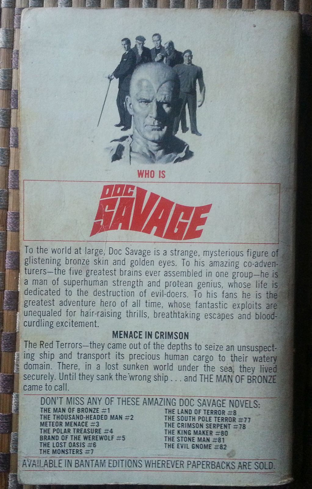 Doc Savage  The Red Terrors  by Kenneth Robeson 1976 PB