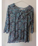 Pretty~Soft Blue/Brown/White Print Ruffled Blouse (L) - $12.00