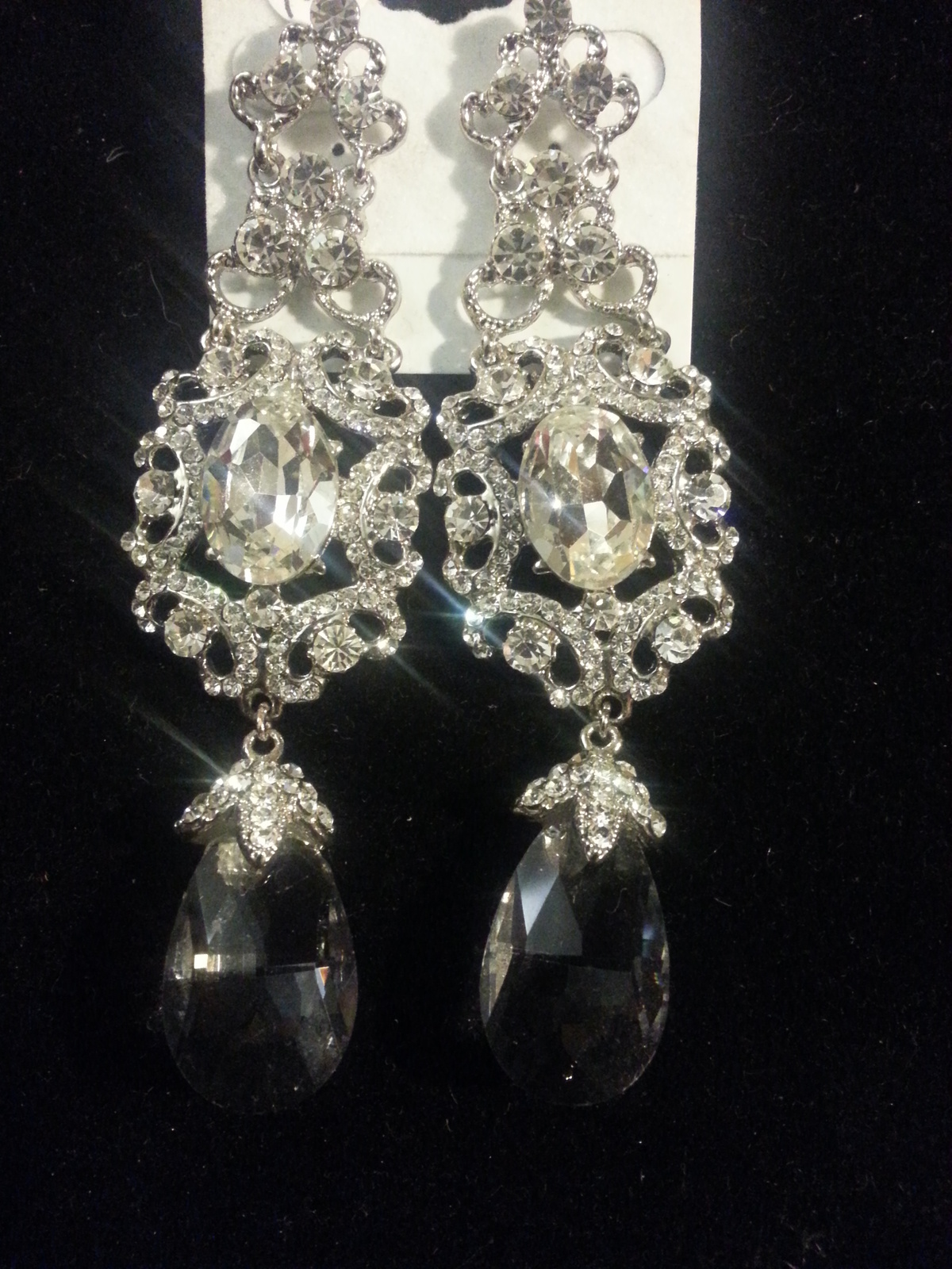 Vintage Style Silver Clear AB Swarovski Crystals and CZ Bridal Earrings