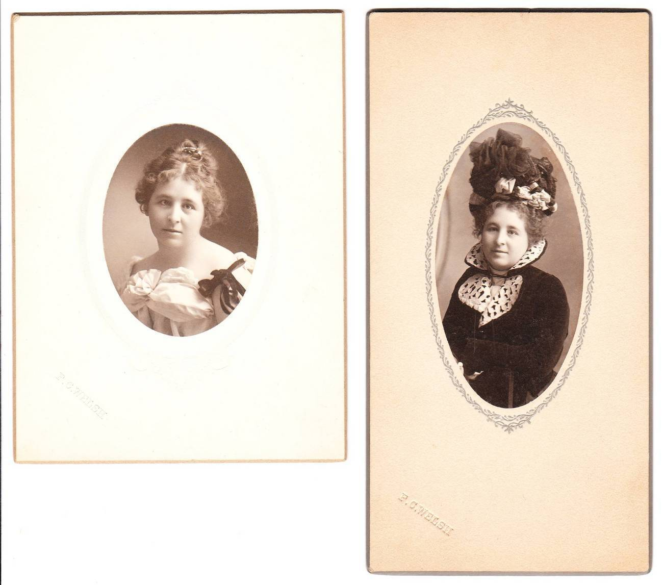 2 Vintage Card Photos Photographs Young Woman Named Myrtle