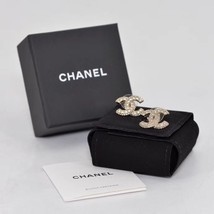 AUTHENTIC CHANEL XL LARGE CRYSTAL CC LOGO STUD GOLD EARRINGS  image 3