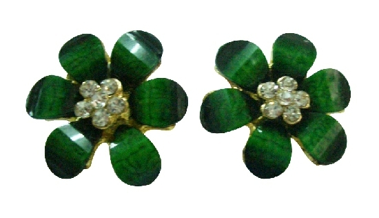 Trendy Fashion Classic Green Flower Stud Earrings