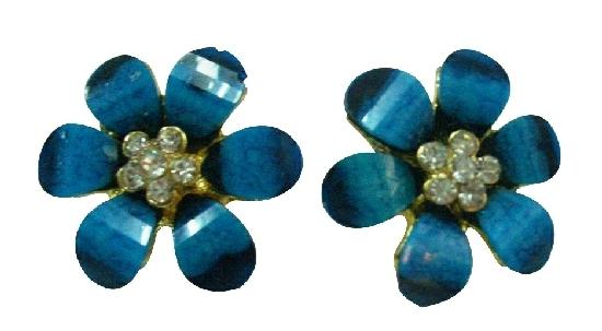 Resin Coated Blue Flowers Earrings Super Price