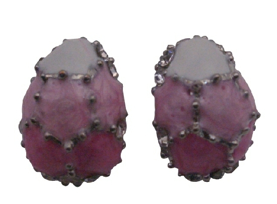 Egg Shaped Earrings Rose Pink & White w/ Crystals