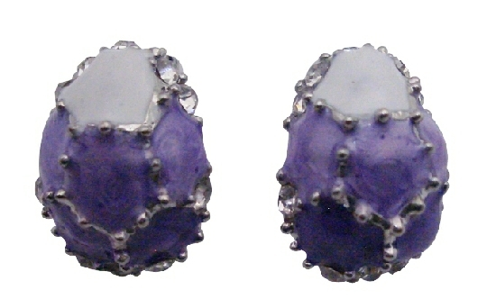 Egg Shaped Earrings Purple Lilac & White w/ Crystals