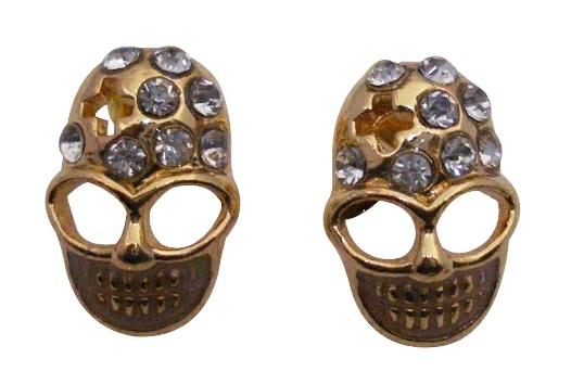 Gold Skull Head Earrings w/ Clear Stud Decorated Earrings