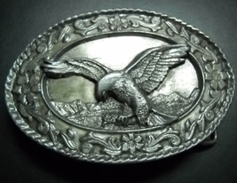 Siskiyou Belt Buckle 1985 Pewter Eagle in Flight Over Mountains SW-2 01 ... - $10.99
