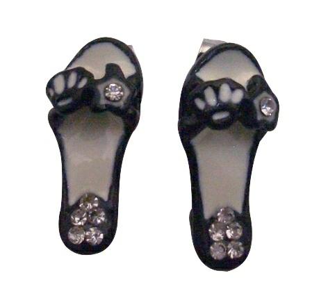 Incredible Fashion Jewelry Cute Black Sandal Earrings