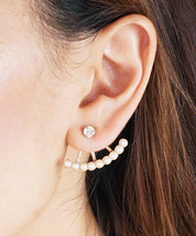 Pearl Ear Jacket Earrings, Simple Dainty Chic Ear Jacket Rhinestone Earrings - $12.00