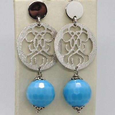 925 STERLING SILVER PENDANT EARRINGS WITH SATIN WORKED DISC FACETED BLUE QUARTZ
