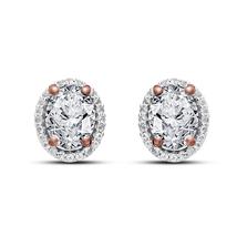 14k Rose Gold Plated 925 Silver Oval Shape White CZ Women's Fancy Stud Earrings - $45.88