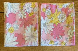 (2) Vintage Cannon Monticello Standard Pillowcase Pink Floral Daisy Retr... - $34.95