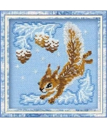 Small Squirrel  Kit winter 15ct aida cross stitch kit Riolis  - $13.50