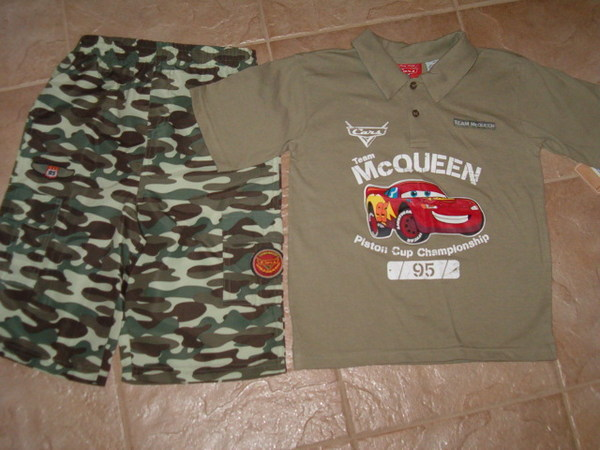 NWT Disney Cars Lightning McQueen Camouflage Short Set Size 6