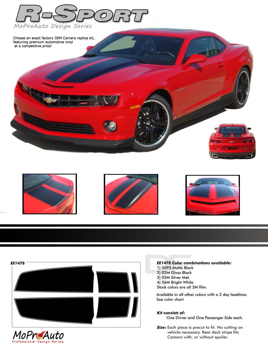 RALLY SPORT 2013 Camaro OE Factory STYLE Racing Stripes HOOD Decals SS RS 3M MK3