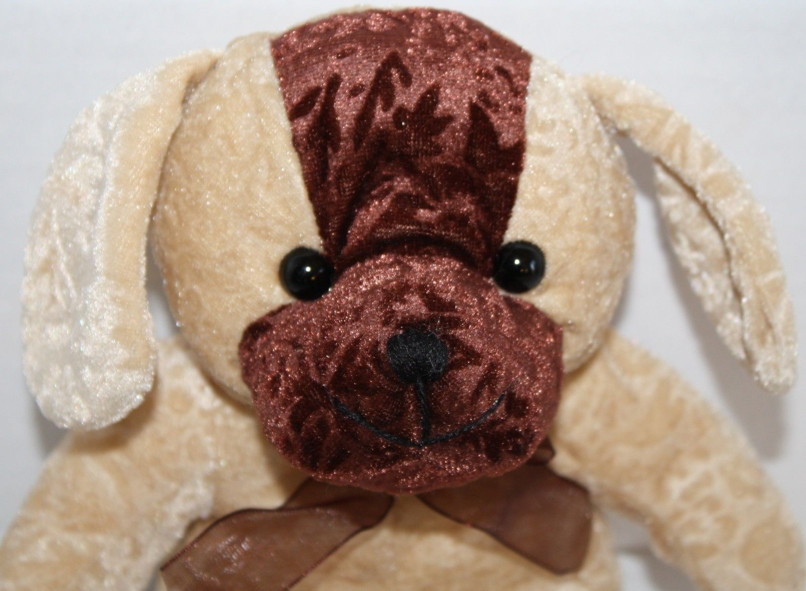 "A Mart Stuffed Dog Tan brown flower embossed Plush stuffed animal puppy 9"" toy"