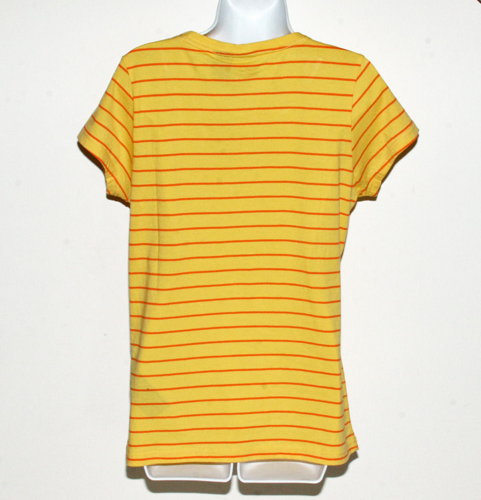 Harley-Davidson Yellow Shirt Short Sleeve Striped Womens Large