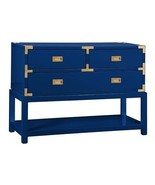 Tansu Campaign Style Console, 3 Drawers, BLUE L... - $1,369.00