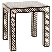 "BONE INLAY over ROSEWOOD SIDE or END TABLE, Moroccan, 20"" SQ., Hollywood... - $1,275.00"