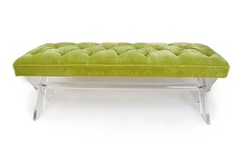 LUCITE X Base Bench, Linen, Tibetan Lamb, COM, or Velvet...CUSTOMIZE YOU... - $3,499.00