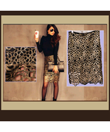 Floral or Paisley Gold Lace Crochet Black Lining Back Zip Up Pencil Skirt - $48.95