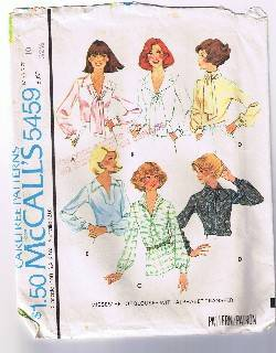McCall's 5459 - Misses' Set of Blouses - Size 10 - Cut and Complete