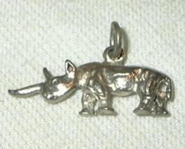 j21 Sterling Silver Rhino Horned Rhinoceros Charm - $5.98